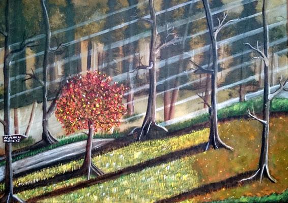 Der bunte Baum - Acryl, 70 x 50 cm