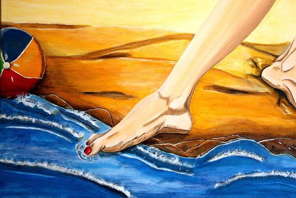 Kalt - 80 x 60 cm - 280,-- Vorsichtig testet die Frau mit ihrer großen Zehe, ob das Wasser bereits warm genug zum Baden ist.