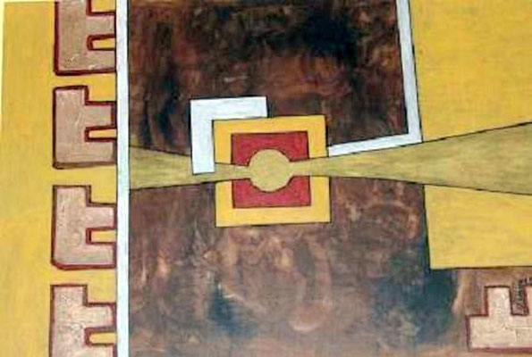 Goldene Mitte - 100 x 70 cm - 400,-Großes Gemälde in harmonischen Naturtönen. Die 5 Elemente sind mit Strukturpaste und Schlagmetall bemalt und aufgesetzt worden. Der braune Bereich fällt durch die interessante Schattierung auf. Gold glänzt in der Mitte.