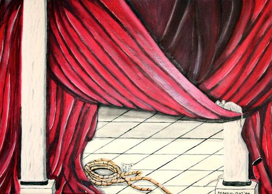Theater - 70 x 50 cm - 250,-- Der rote Vorhang geht auf. Schnell huschen die Mäuschen ins Versteck. Nur eines wagt vorwitzig einen neugierigen Blick.Symbolhaftes Werk.