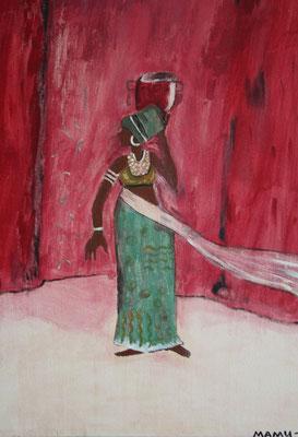 Afrikanerin - 30 x 20 cm - 150,- auf Leinen - Afrikanische Schönheit ganz in Rot. In ihrem gemusterten Kleid - mit Schmuck behangen - balanciert sie anmutig einen Wasserkrug auf dem Kopf. Dabei wird der weiße Schleier vom Wind bewegt.