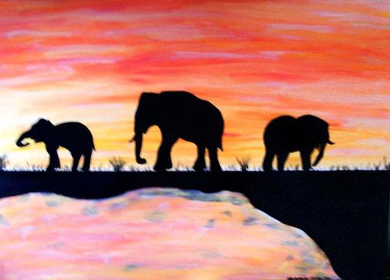 Elefanten Nr.2 - 70 x 50 cm  Auftragsarbeit Nicht mehr verfügbar!