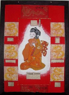 Chinesin - Collage auf gespanntem Laken