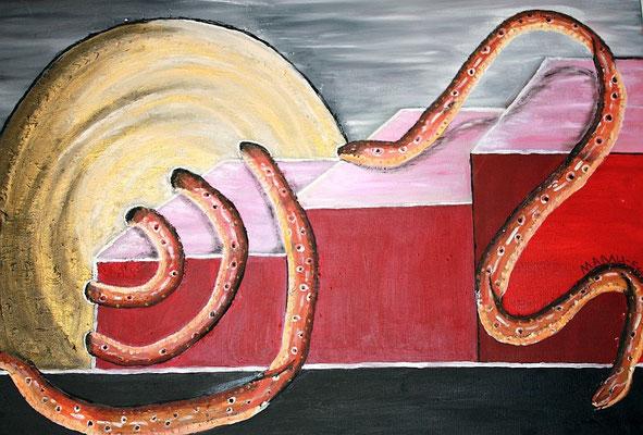 """Ilussion - 100 x 70 cm - 480,-- Wunderschönes großes Gemälde in harmonischen Rottönen. Langsam windet sich eine Schlange die Stufen hinab und verschwindet im goldenen """"Nichts"""", um an anderer Stelle plötzlich wieder aufzutauchen."""