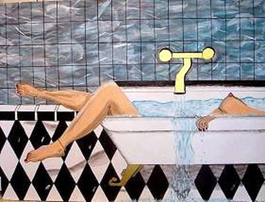 """Badespass - 80 x 60 cm Nicht mehr verfügbar! Surrealistisches Werk einer badenden Frau. Das Wasser scheint aus dem Bild zu laufen; die Hand liegt """"tot"""" auf dem Rand; der Boden wirkt """"gekippt"""". Die langen Beine und die mamorierte Wand vollenden das Werk."""