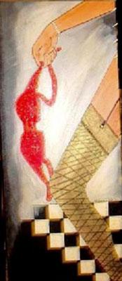 """Erotische Phantasie - 120 x 40 cm Nicht mehr verfügbar! Phantasievolles Bild über eine Frau in Strapse, die verspielt mit Ihrer Wäsche reizt. Der Stoff- BH ist mit Perlen verziert. Der schattierte Hintergrund lässt den Boden ins """"Nichts"""" gleiten."""
