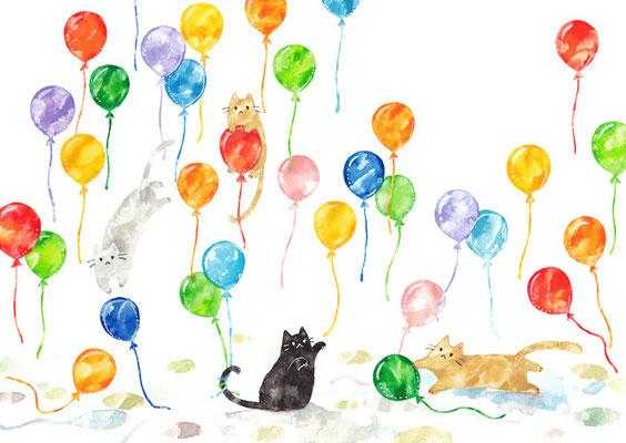 「風船とネコたち」A4/水彩絵具・ペン