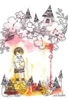 「きづいてないふり」ポストカード/水彩絵具・耐水性ペン