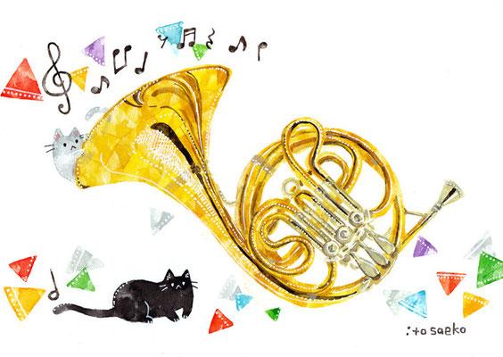 「ホルンとネコ」A5/水彩絵具・ペン