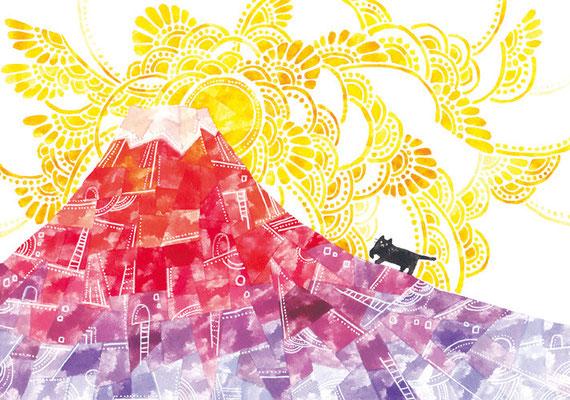 「赤富士とネコ」B5/水彩絵具・ペン