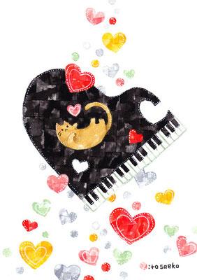 「ピアノとネコ」A5/水彩絵具・ペン