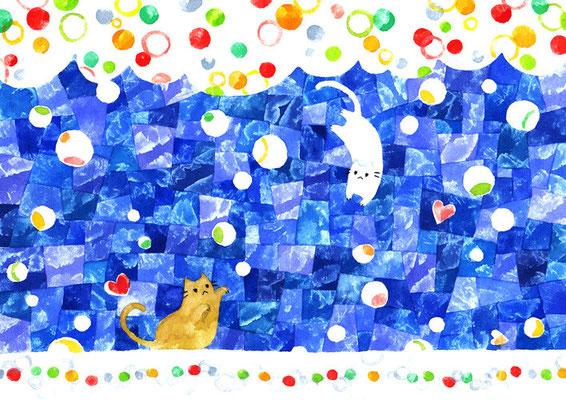 「雪とネコ」B5/水彩絵具