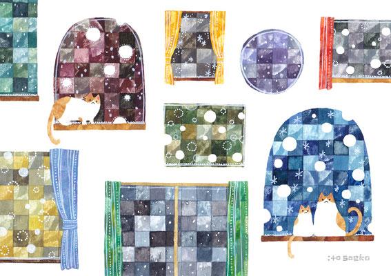 「雪の降る窓とネコ」B5/水彩絵具