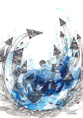「さらう、さわらない」B5/水彩絵具・耐水性ペン