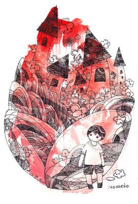 「うまれたから」ポストカード/水彩絵具・耐水性ペン
