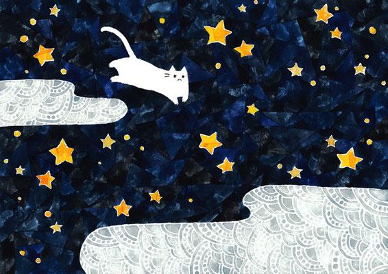 「夜空とネコ」B5/水彩絵具