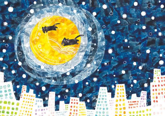 「月と夜の街とネコ」B5/水彩絵具・ペン