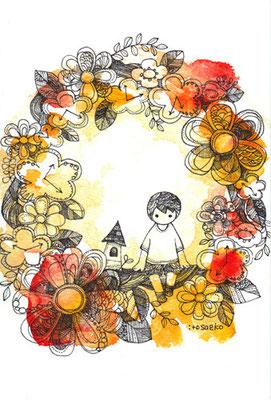 「かざるきもち」ポストカード/水彩絵具・耐水性ペン