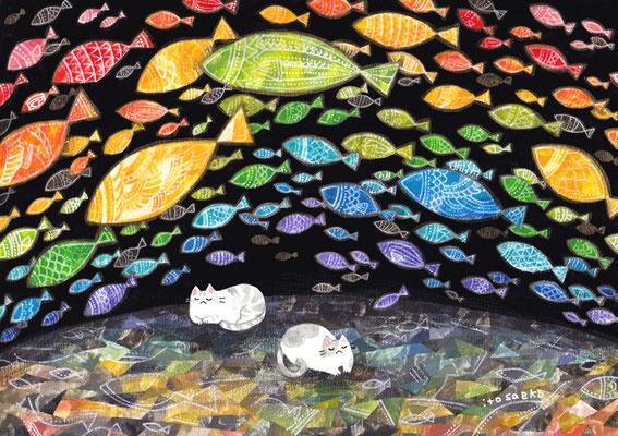「魚の虹を夢見るネコ」B5/水彩絵具