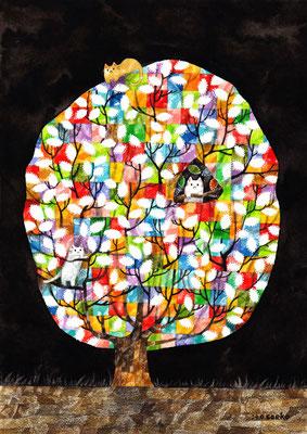 「カラフルな樹とネコ」B5/水彩絵具・ペン・色鉛筆