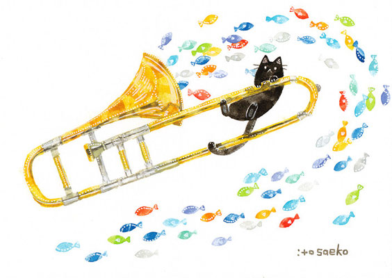 「トロンボーンとネコ」A5/水彩絵具・ペン