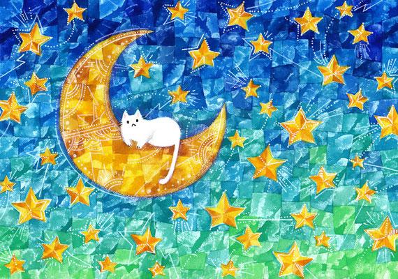 「月と星とネコ」B5/水彩絵具・ペン・色鉛筆