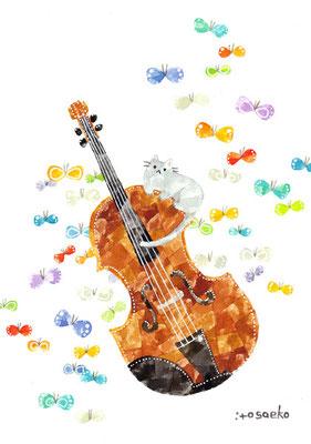 「ヴァイオリンとネコ」A5/水彩絵具・ペン