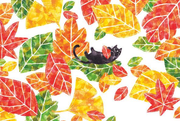 PY-06「落ち葉とネコ」