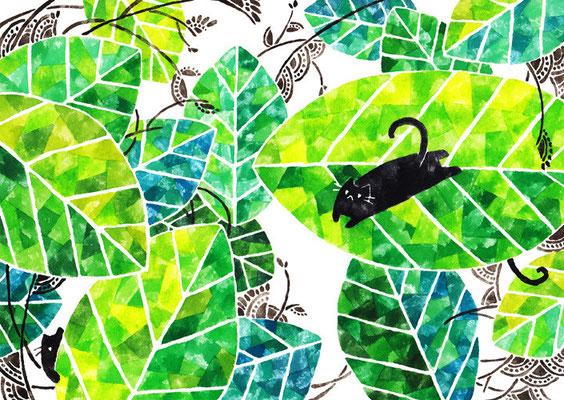「葉っぱとネコ」B5/水彩絵具