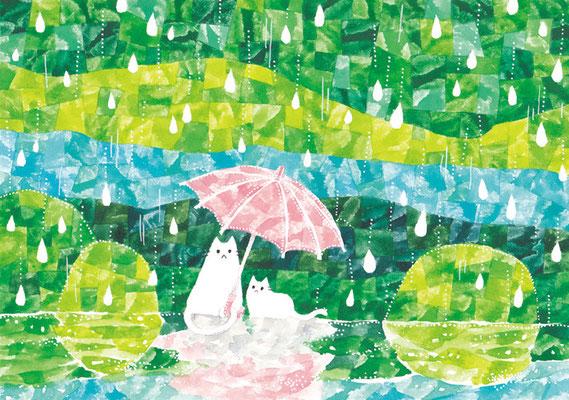 「雨の森とネコ」B5/水彩絵具・ペン