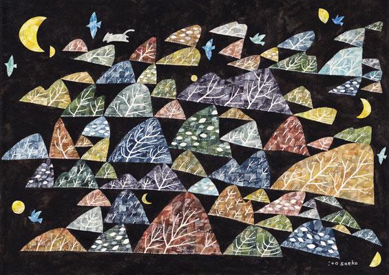 「ひとつひとつそこにある」A3/水彩絵具・ペン・コラージュ