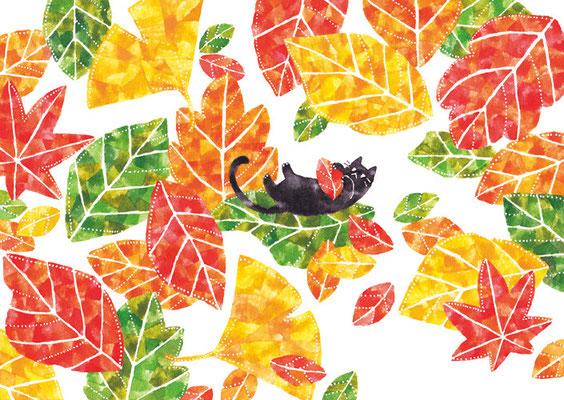 「落ち葉とネコ」B5/水彩絵具・ペン
