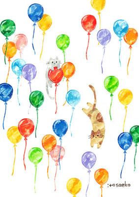 「風船の上のネコたち」B5/水彩絵具・ペン