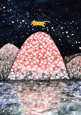 「桜の山とネコ」A3/水彩絵具・ペン・アクリル絵具