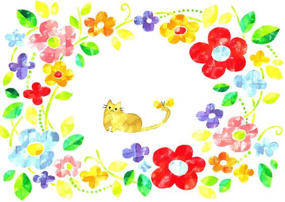 「花とネコ」B5/水彩絵具