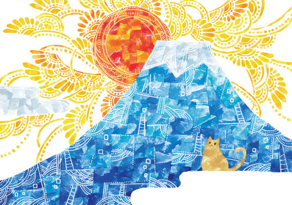「富士山とネコ」B5/水彩絵具・ペン