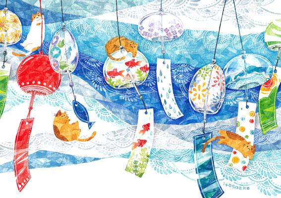 「風鈴とネコ」B5/水彩絵具