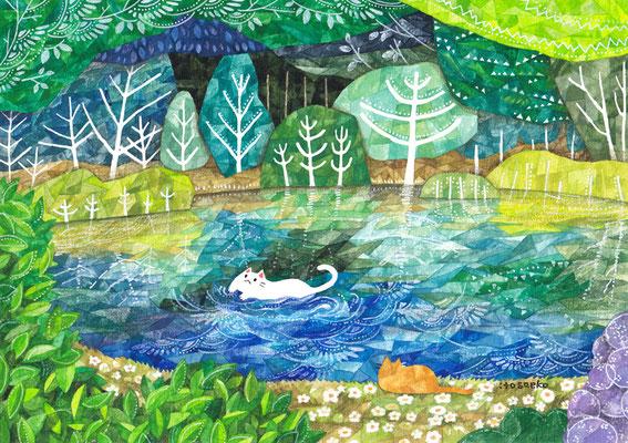 「湖とネコ」B5/水彩絵具