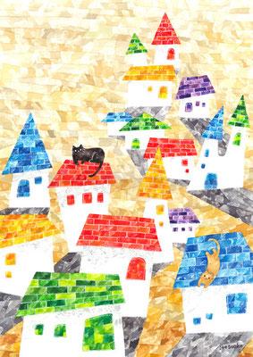 「家とネコ」A3/水彩絵具・ペン