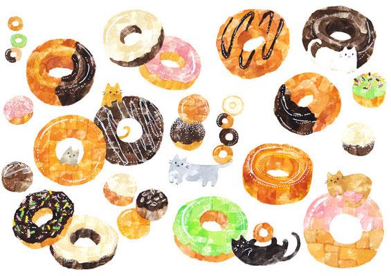 「ドーナツとネコ」A4/水彩絵具・ペン
