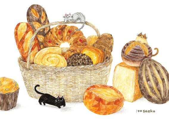 「パンかごとネコたち」B5/水彩絵具