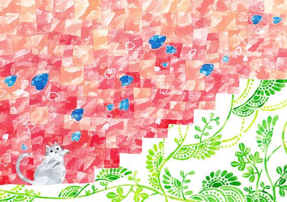 「桜とネコ」B5/水彩絵具・ペン