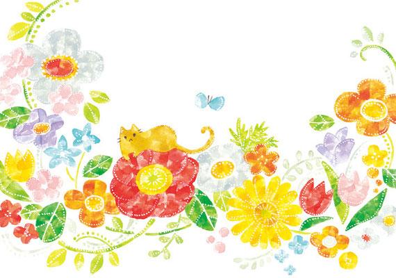 「花の上のネコ」B5/水彩絵具・ペン
