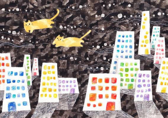 「夜の街とネコ」B5/水彩絵具・ペン