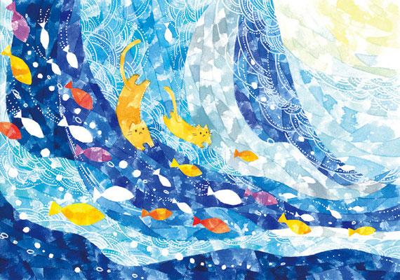 「海とネコ」B5/水彩絵具・ペン