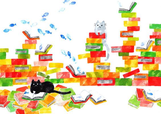 「本とネコ」B5/水彩絵具