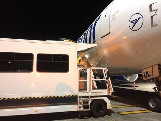 Transportlogistik - Mit diesem Fahrzeug werden die Patienten ins Flugzeug verbracht.