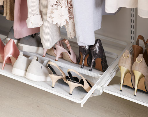 Elfa Regalsystem für Schuhe, Regalsystem Garderobe, Regalsystem Metall, Schuhregal