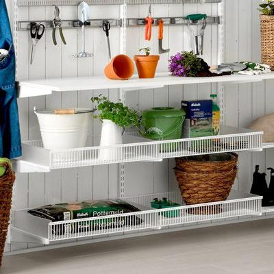Regalsystem für Gartenhaus, Elfa Regalsystem, Kellerregal, Garageneinrichtung, Regale für Keller