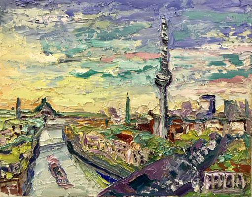 BERLIN 17:45 UHR oleo en lienzo 40 x 50 cm € VENDIDO